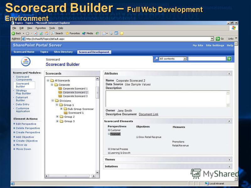 Scorecard Builder – Full Web Development Environment