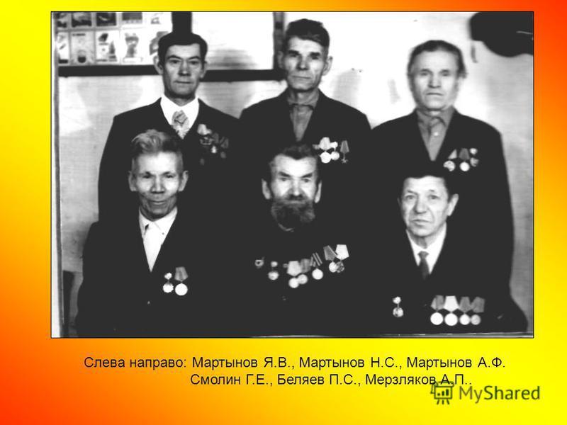 Слева направо: Мартынов Я.В., Мартынов Н.С., Мартынов А.Ф. Смолин Г.Е., Беляев П.С., Мерзляков А.П..