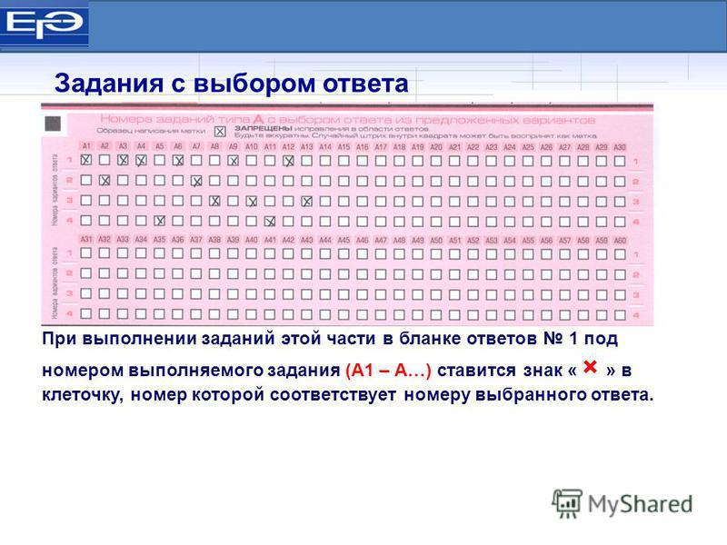 При выполнении заданий этой части в бланке ответов 1 под номером выполняемого задания (А1 – А…) ставится знак « × » в клеточку, номер которой соответствует номеру выбранного ответа. Задания с выбором ответа