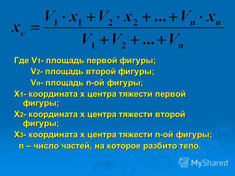 Где V 1 - площадь первой фигуры; V 2 - площадь второй фигуры; V 2 - площадь второй фигуры; V n - площадь n-ой фигуры; V n - площадь n-ой фигуры; Х 1 - координата х центра тяжести первой фигуры; Х 2 - координата х центра тяжести второй фигуры; Х 3 - к