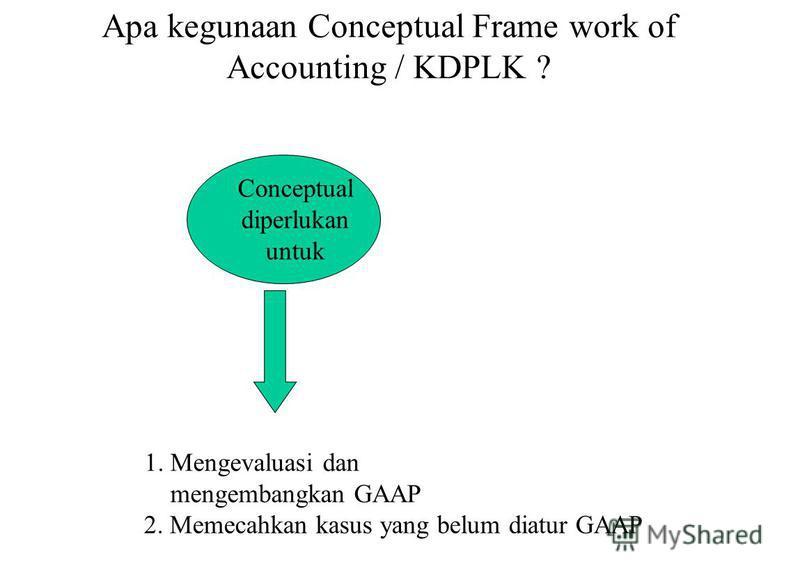 Apa kegunaan Conceptual Frame work of Accounting / KDPLK ? Conceptual diperlukan untuk 1. Mengevaluasi dan mengembangkan GAAP 2. Memecahkan kasus yang belum diatur GAAP
