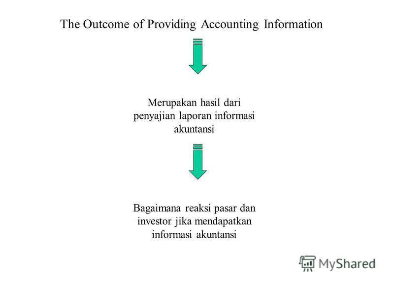 The Outcome of Providing Accounting Information Merupakan hasil dari penyajian laporan informasi akuntansi Bagaimana reaksi pasar dan investor jika mendapatkan informasi akuntansi