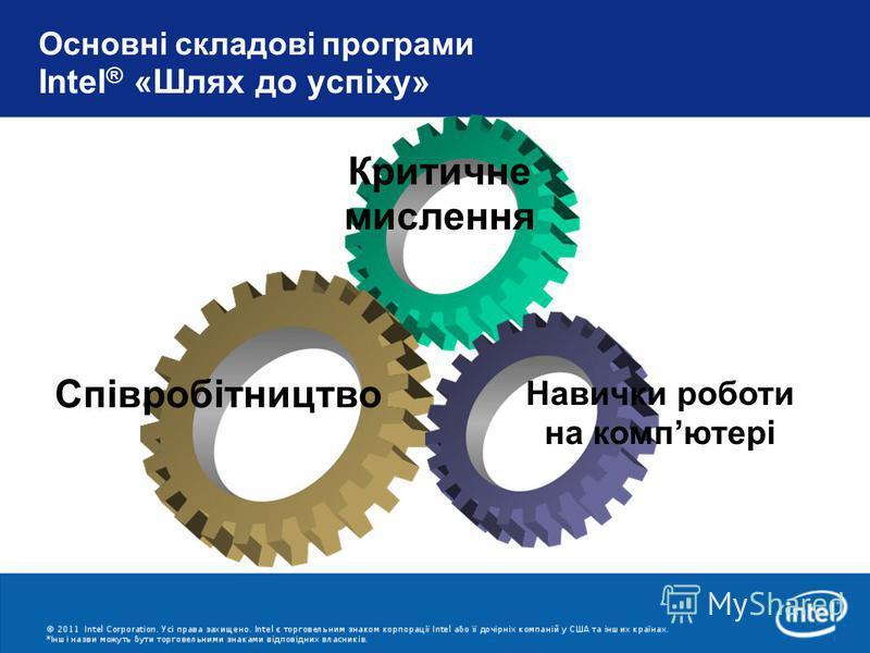 Основні складові програми Intel ® «Шлях до успіху» Співробітництво Критичне мислення Навички роботи на компютері