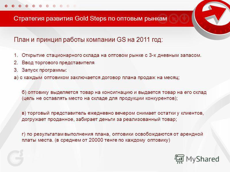 Стратегия развития Gold Steps по оптовым рынкам План и принцип работы компании GS на 2011 год: 1. Открытие стационарного склада на оптовом рынке с 3-х дневным запасом. 2. Ввод торгового представителя 3. Запуск программы: а) с каждым оптовиком заключа