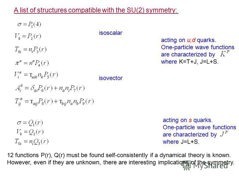 A list of structures compatible with the SU(2) symmetry: isoscalar isovector acting on u,d quarks. One-particle wave functions are characterized by where K=T+J, J=L+S. acting on s quarks. One-particle wave functions are characterized by where J=L+S.