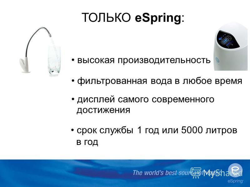 ТОЛЬКО eSpring: высокая производительность фильтрованная вода в любое время дисплей самого современного достижения срок службы 1 год или 5000 литров в год