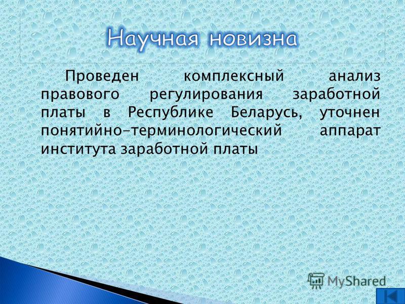 Проведен комплексный анализ правового регулирования заработной платы в Республике Беларусь, уточнен понятийно-терминологический аппарат института заработной платы