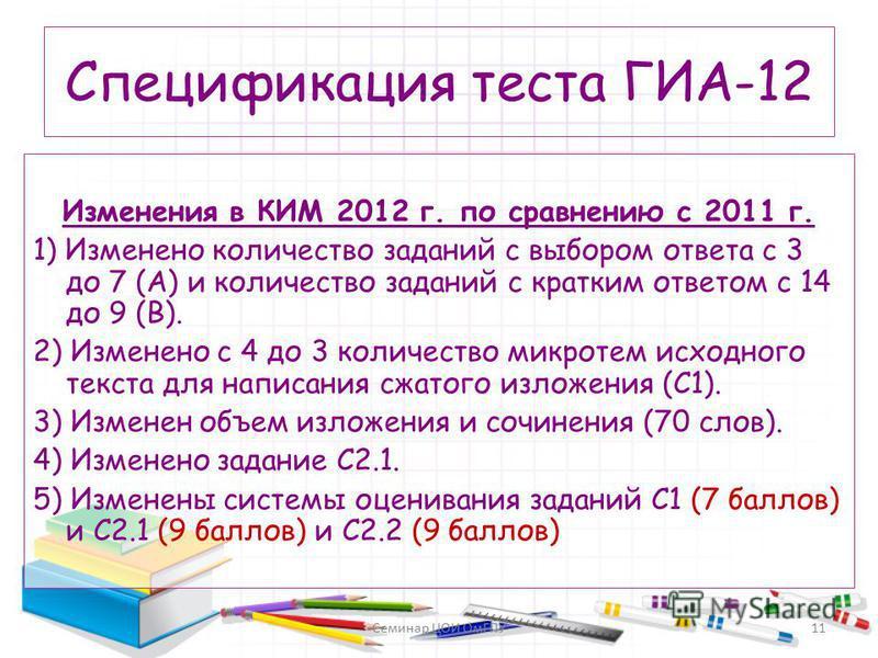Спецификация теста ГИА-12 Изменения в КИМ 2012 г. по сравнению с 2011 г. 1) Изменено количество заданий с выбором ответа с 3 до 7 (А) и количество заданий с кратким ответом с 14 до 9 (В). 2) Изменено с 4 до 3 количество микротем исходного текста для