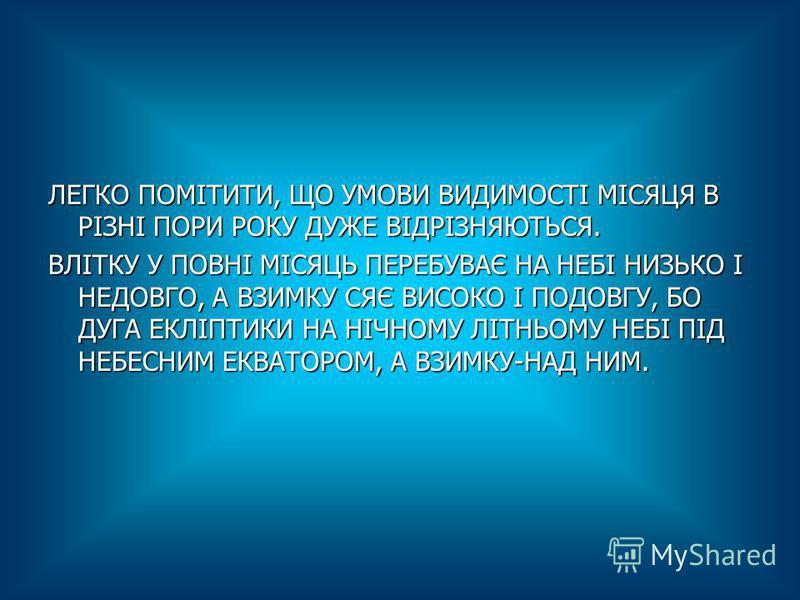 ЛЕГКО ПОМІТИТИ, ЩО УМОВИ ВИДИМОСТІ МІСЯЦЯ В РІЗНІ ПОРИ РОКУ ДУЖЕ ВІДРІЗНЯЮТЬСЯ. ВЛІТКУ У ПОВНІ МІСЯЦЬ ПЕРЕБУВАЄ НА НЕБІ НИЗЬКО І НЕДОВГО, А ВЗИМКУ СЯЄ ВИСОКО І ПОДОВГУ, БО ДУГА ЕКЛІПТИКИ НА НІЧНОМУ ЛІТНЬОМУ НЕБІ ПІД НЕБЕСНИМ ЕКВАТОРОМ, А ВЗИМКУ-НАД Н