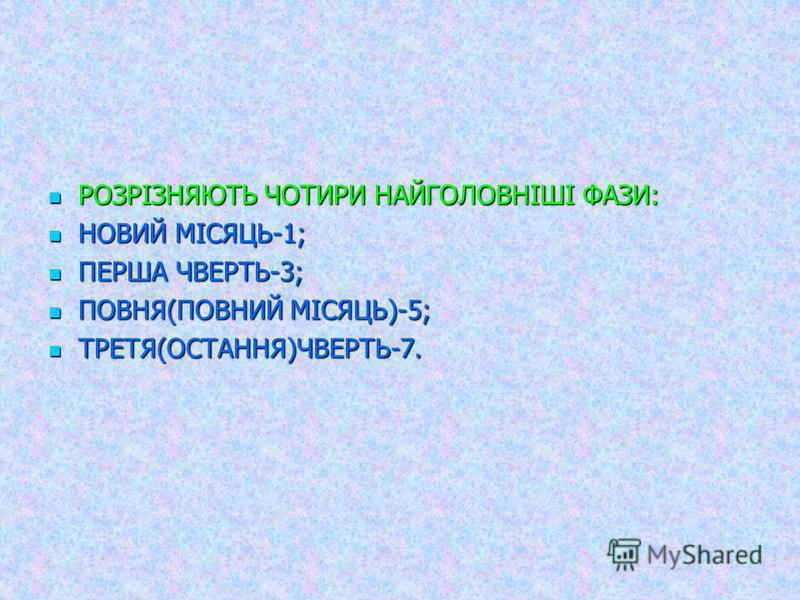 РОЗРІЗНЯЮТЬ ЧОТИРИ НАЙГОЛОВНІШІ ФАЗИ: РОЗРІЗНЯЮТЬ ЧОТИРИ НАЙГОЛОВНІШІ ФАЗИ: НОВИЙ МІСЯЦЬ-1; НОВИЙ МІСЯЦЬ-1; ПЕРША ЧВЕРТЬ-3; ПЕРША ЧВЕРТЬ-3; ПОВНЯ(ПОВНИЙ МІСЯЦЬ)-5; ПОВНЯ(ПОВНИЙ МІСЯЦЬ)-5; ТРЕТЯ(ОСТАННЯ)ЧВЕРТЬ-7. ТРЕТЯ(ОСТАННЯ)ЧВЕРТЬ-7.