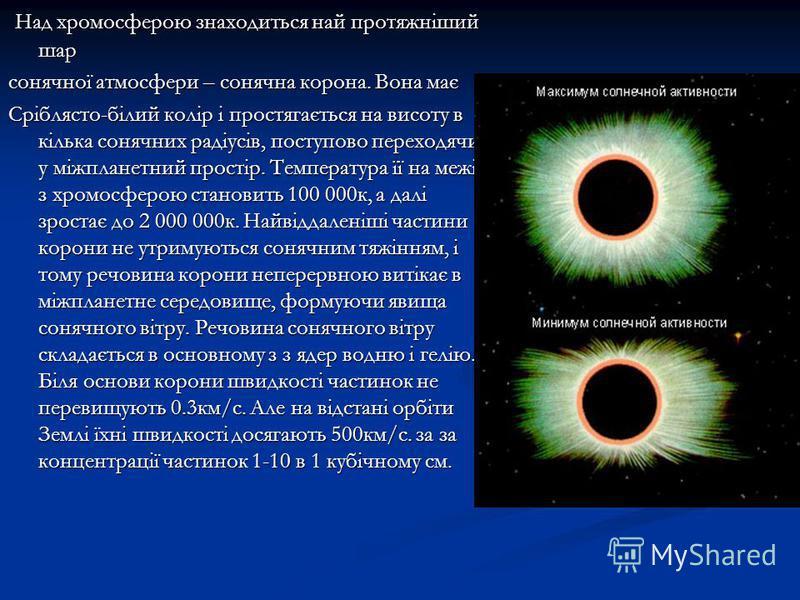 Над хромосферою знаходиться най протяжніший шар Над хромосферою знаходиться най протяжніший шар сонячної атмосфери – сонячна корона. Вона має Сріблясто-білий колір і простягається на висоту в кілька сонячних радіусів, поступово переходячи у міжпланет