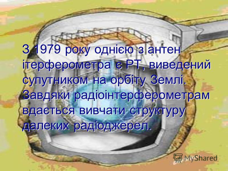 З 1979 року однією з антен ітерферометра є РТ, виведений супутником на орбіту Землі. Завдяки радіоінтерферометрам вдається вивчати структуру далеких радіоджерел. З 1979 року однією з антен ітерферометра є РТ, виведений супутником на орбіту Землі. Зав