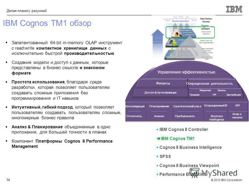 © 2010 IBM Corporation Делая планету разумней 14 IBM Cognos TM1 обзор Запатентованный 64-bit in-memory OLAP инструмент с read\write компактное хранилище данных с исключительно быстрой производительностью Создание модели и доступ к данным, которые пре