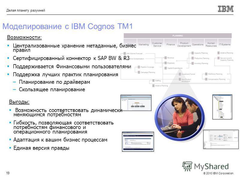 © 2010 IBM Corporation Делая планету разумней 19 Моделирование с IBM Cognos TM1 Возможности: Централизоваюные хранение метадаюные, бизнес правил Сертифицированный коннектор к SAP BW & R3 Поддерживается Финансовыми пользователями Поддержка лучших прак