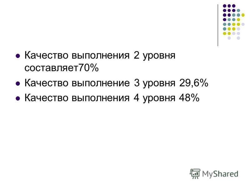 Качество выполнения 2 уровня составляет 70% Качество выполнение 3 уровня 29,6% Качество выполнения 4 уровня 48%