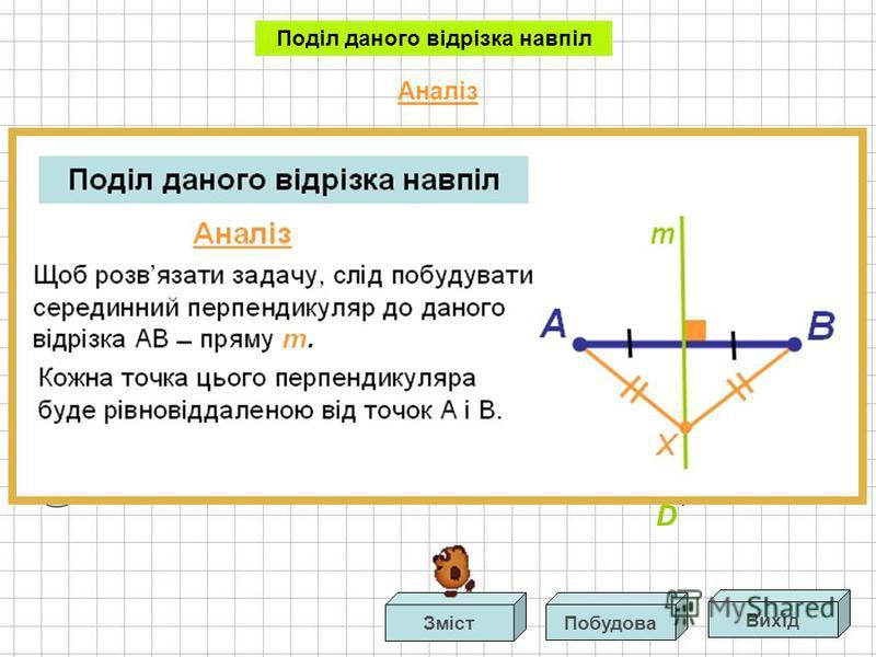 Звідси випливає, що АСО = ВСО. Тоді, АСО = ВСО за двома сторонами і кутом між ними. З рівності цих трикутників маємо: АО=ОВ. Отже, точка О середина відрізка АВ. В Поділ даного відрізка навпіл АCD= ВСD за трьома сторонами. Доведення Аналіз D А С O Вих