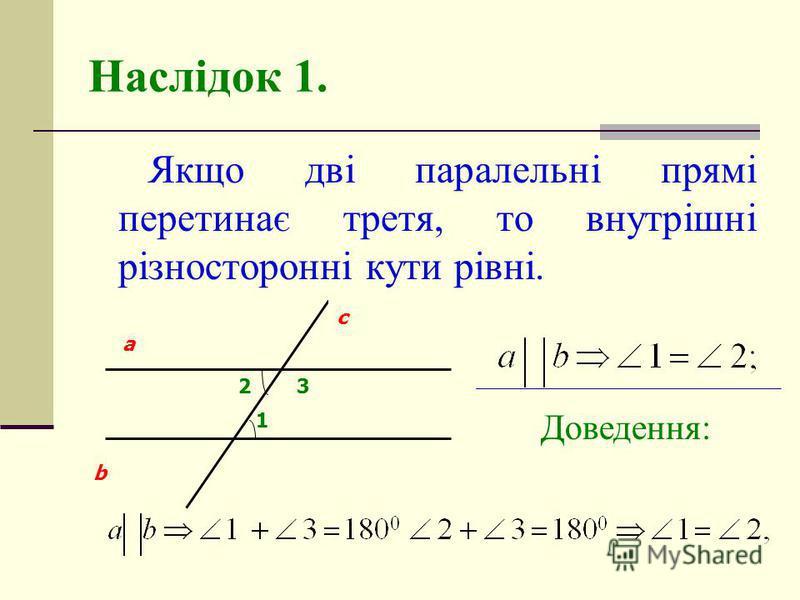 Наслідок 1. Якщо дві паралельні прямі перетинає третя, то внутрішні різносторонні кути рівні. 1 3 a b c 2 Доведення:
