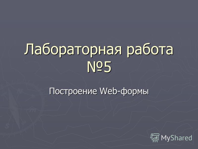 Лабораторная работа 5 Построение Web-формы