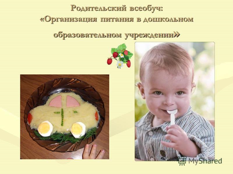 Родительский всеобуч: «Организация питания в дошкольном образовательном учреждении »