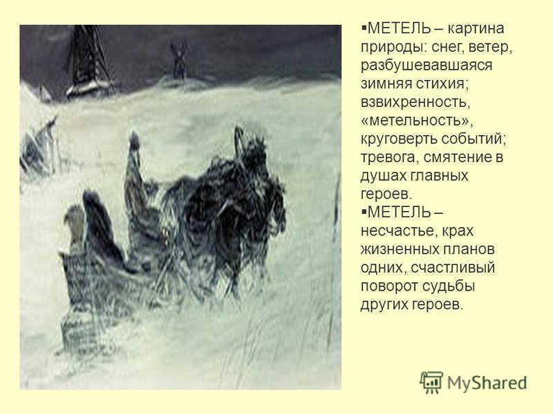 МЕТЕЛЬ – картина природы: снег, ветер, разбушевавшаяся зимняя стихия; взвихренность, «мнительность», круговерть событий; тревога, смятение в душах главных героев. МЕТЕЛЬ – несчастье, крах жизненных планов одних, счастливый поворот судьбы других герое