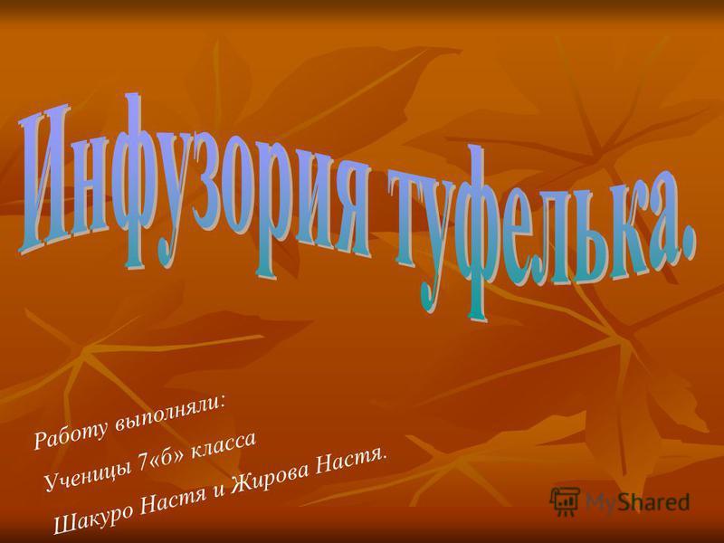 Работу выполняли: Ученицы 7«б» класса Шакуро Настя и Жирова Настя.