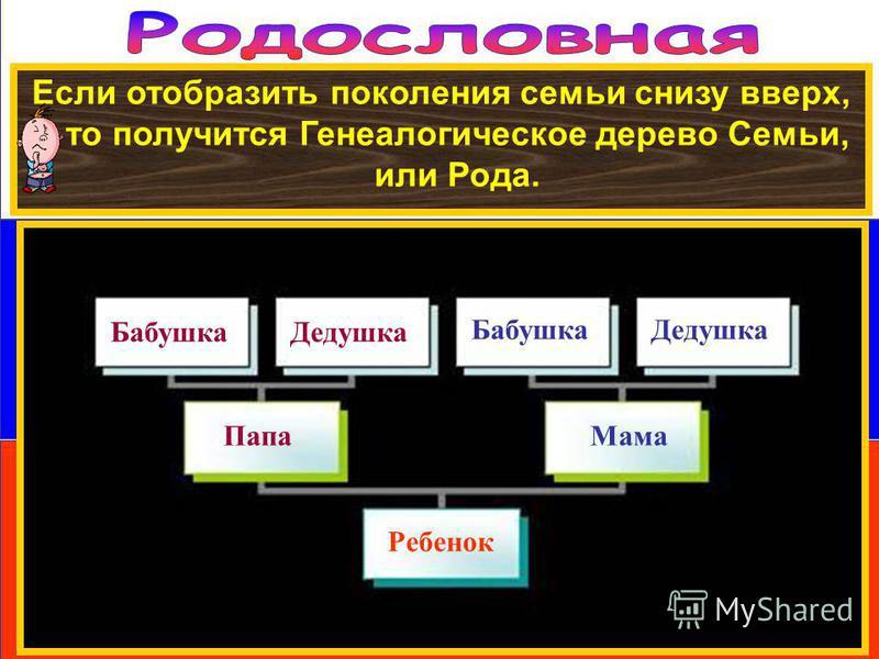 Если отобразить поколения семьи снизу вверх, то получится Генеалогическое дерево Семьи, или Рода. Ребенок Папа Мама Бабушка Дедушка Бабушка Дедушка