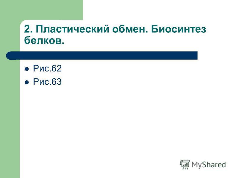 2. Пластический обмен. Биосинтез белков. Рис.62 Рис.63