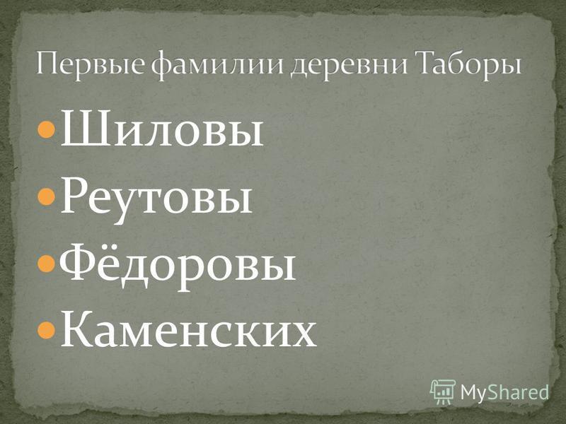 Шиловы Реутовы Фёдоровы Каменских