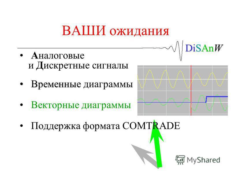 DiSAnW ВАШИ ожидания Аналоговые и Дискретные сигналы Временные Временные диаграммы Векторные диаграммы Поддержка формата COMTRADE