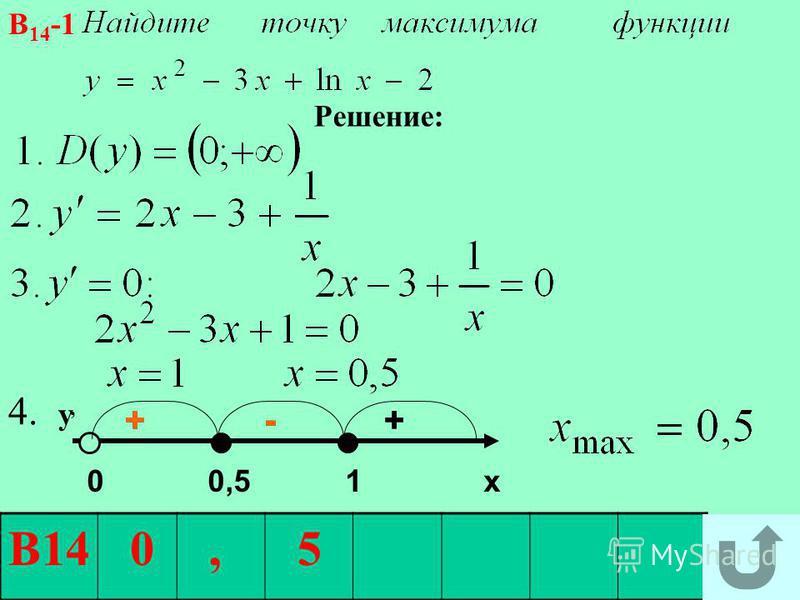 + - + + - В14 0, 5 В 14 -1 Решение: 0 0,5 1 х 4. у, +