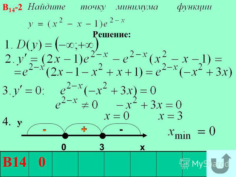 - + - - + В14 0 В 14 -2 Решение: 0 3 х 4. у,