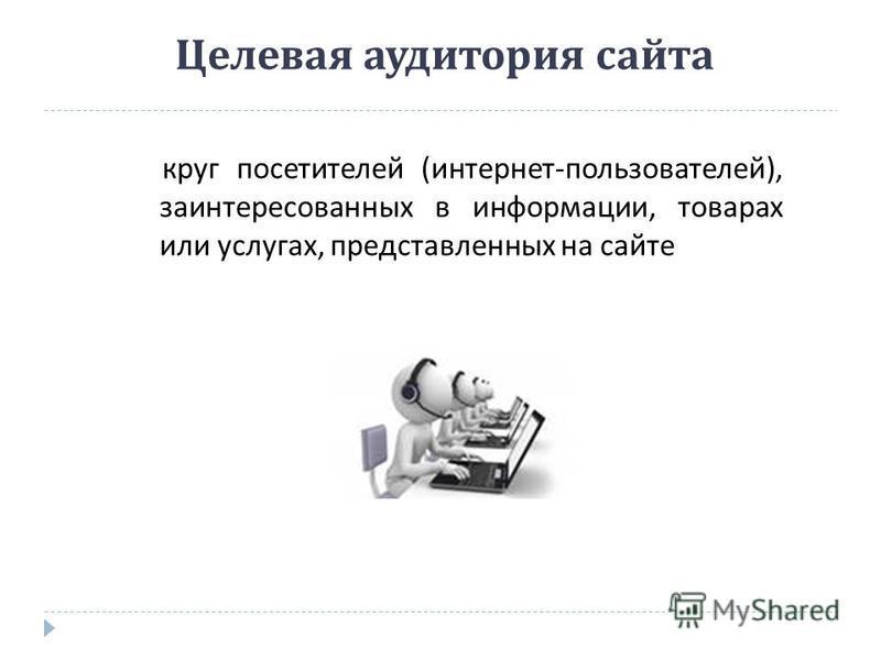 Целевая аудитория сайта круг посетителей ( интернет - пользователей ), заинтересованных в информации, товарах или услугах, представленных на сайте