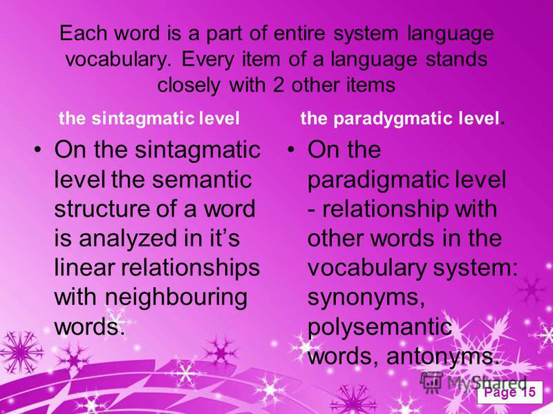 Powerpoint Templates Page 15 Each word is a part of entire system language vocabulary. Every item of a language stands closely with 2 other items the sintagmatic level On the sintagmatic level the semantic structure of a word is analyzed in its linea