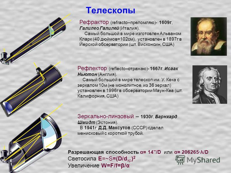 Телескопы Рефлектор (reflecto–отражаю)- 1667 г, Исаак Ньютон (Англия). Самый большой в мире телескоп им. У. Кека с зеркалом 10 м (не монолитное, из 36 зеркал) установлен в 1996 г в обсерватории Маун-Кеа (шт. Калифорния, США) Рефрактор (refracto–прело