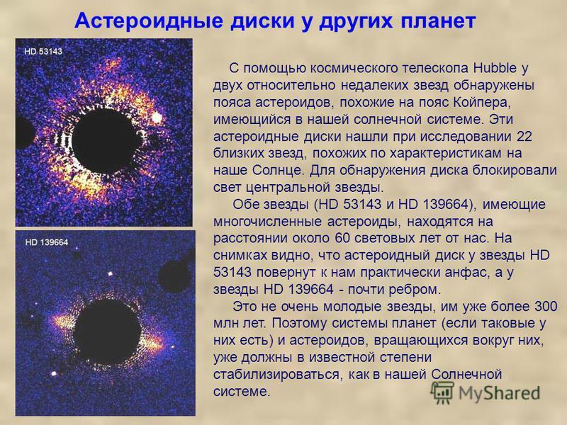 Астероидные диски у других планет С помощью космического телескопа Hubble у двух относительно недалеких звезд обнаружены пояса астероидов, похожие на пояс Койпера, имеющийся в нашей солнечной системе. Эти астероидные диски нашли при исследовании 22 б