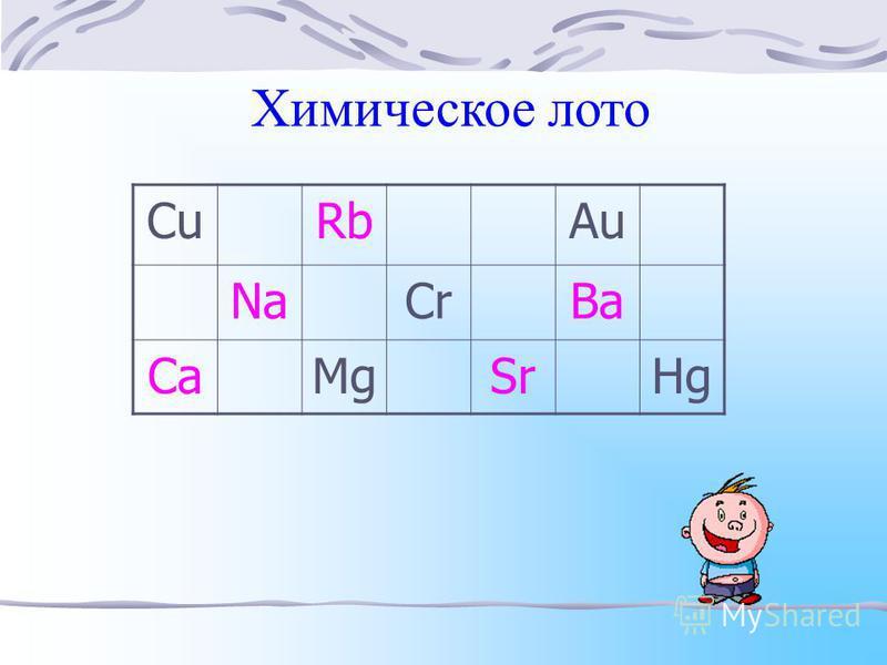 Химическое лото CuRbAu NaCrBa CaMgSrHg