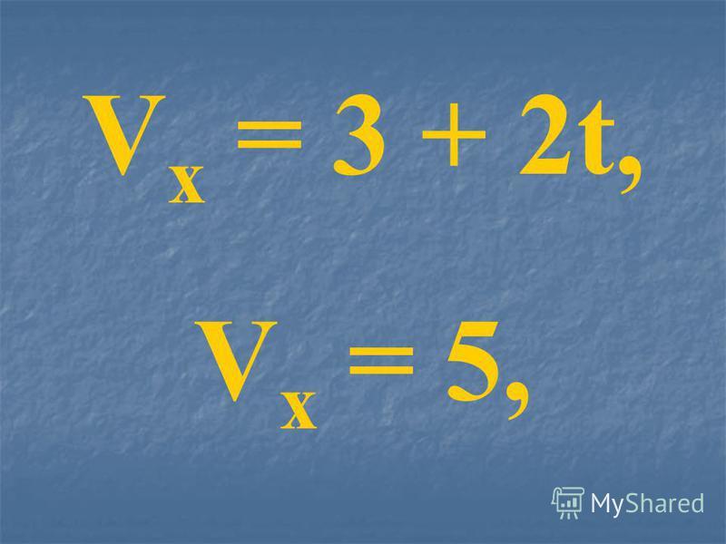 V x = 3 + 2t, V x = 5,