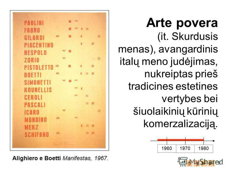 1 Arte povera (it. Skurdusis menas), avangardinis italų meno judėjimas, nukreiptas prieš tradicines estetines vertybes bei šiuolaikinių kūrinių komerzalizaciją. 1960 19701980 Alighiero e Boetti Manifestas, 1967.