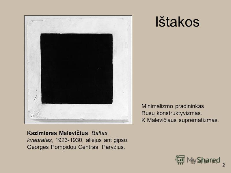 2 Kazimieras Malevičius, Baltas kvadratas, 1923-1930, aliejus ant gipso. Georges Pompidou Centras, Paryžius. Minimalizmo pradininkas. Rusų konstruktyvizmas. K.Malevičiaus suprematizmas. Ištakos