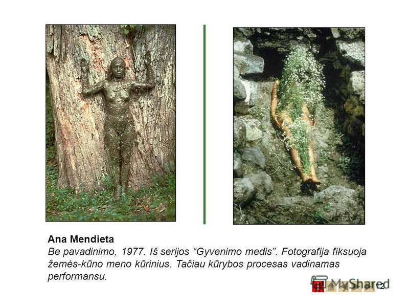 12 Ana Mendieta Be pavadinimo, 1977. Iš serijos Gyvenimo medis. Fotografija fiksuoja žemės-kūno meno kūrinius. Tačiau kūrybos procesas vadinamas performansu.