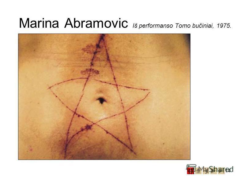 14 Marina Abramovic Iš performanso Tomo bučiniai, 1975.