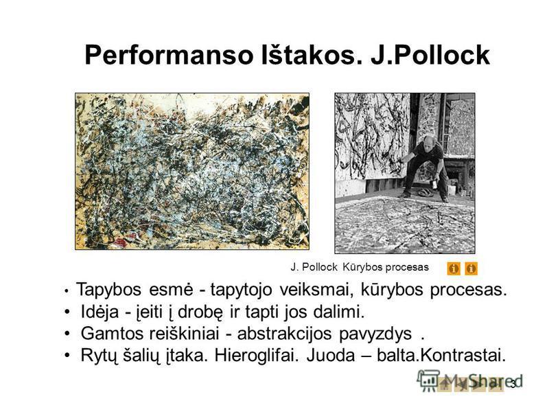 3 Performanso Ištakos. J.Pollock Tapybos esmė - tapytojo veiksmai, kūrybos procesas. Idėja - įeiti į drobę ir tapti jos dalimi. Gamtos reiškiniai - abstrakcijos pavyzdys. Rytų šalių įtaka. Hieroglifai. Juoda – balta.Kontrastai. J. Pollock Kūrybos pro