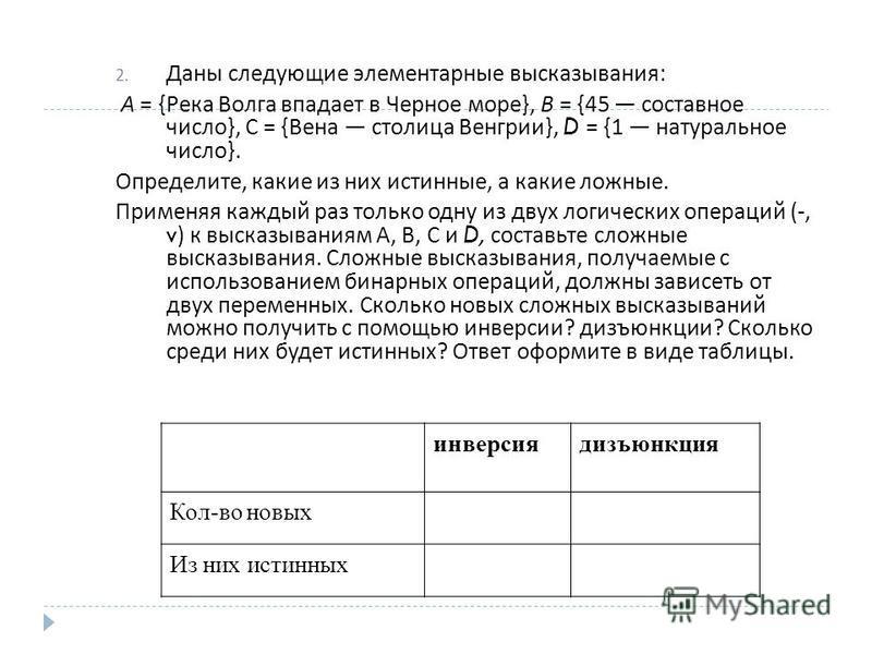2. Даны следующие элементарные высказывания : А = { Река Волга впадает в Черное море }, В = {45 составное число }, С = { Вена столица Венгрии }, D = {1 натуральное число }. Определите, какие из них истинные, а какие ложные. Применяя каждый раз только
