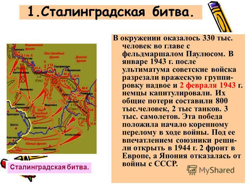В окружении оказалось 330 тыс. человек во главе с фельдмаршалом Паулюсом. В январе 1943 г. после ультиматума советские войска разрезали вражескую группировку надвое и 2 февраля 1943 г. немцы капитулировали. Их общие потери составили 800 тыс.человек,