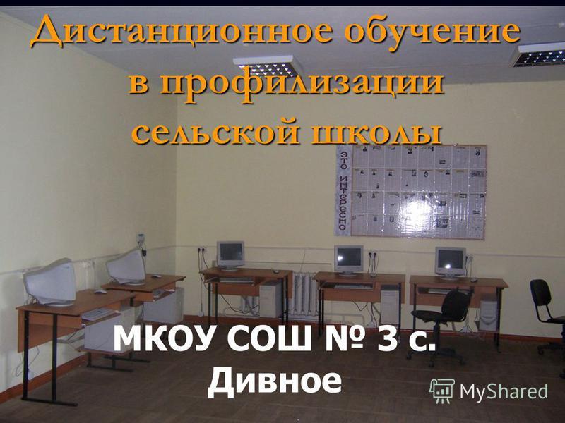 МКОУ СОШ 3 с. Дивное Дистанционное обучение в профилизации сельской школы