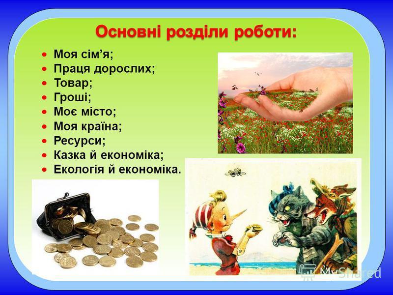 Моя сімя; Праця дорослих; Товар; Гроші; Моє місто; Моя країна; Ресурси; Казка й економіка; Екологія й економіка.