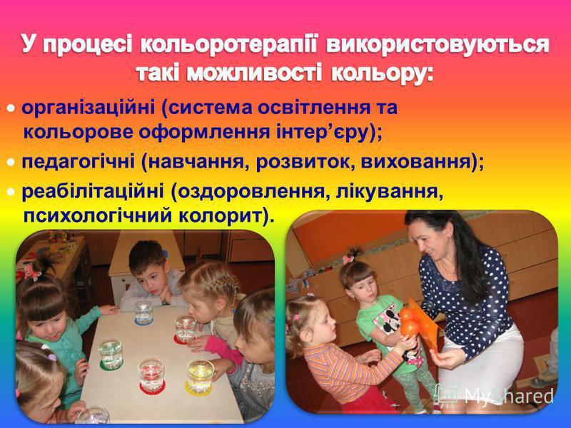 організаційні (система освітлення та кольорове оформлення інтерєру); педагогічні (навчання, розвиток, виховання); реабілітаційні (оздоровлення, лікування, психологічний колорит).