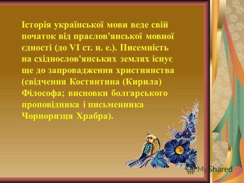 Історія української мови веде свій початок від праслов'янської мовної єдності (до VI ст. н. е.). Писемність на східнослов'янських землях існує ще до запровадження християнства (свідчення Костянтина (Кирила) Філософа; висновки болгарського проповідник