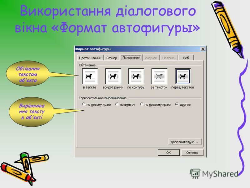 Використання діалогового вікна «Формат автофигуры» Обтікання текстом об'єкта Вирівнюва ння тексту в об'єкті