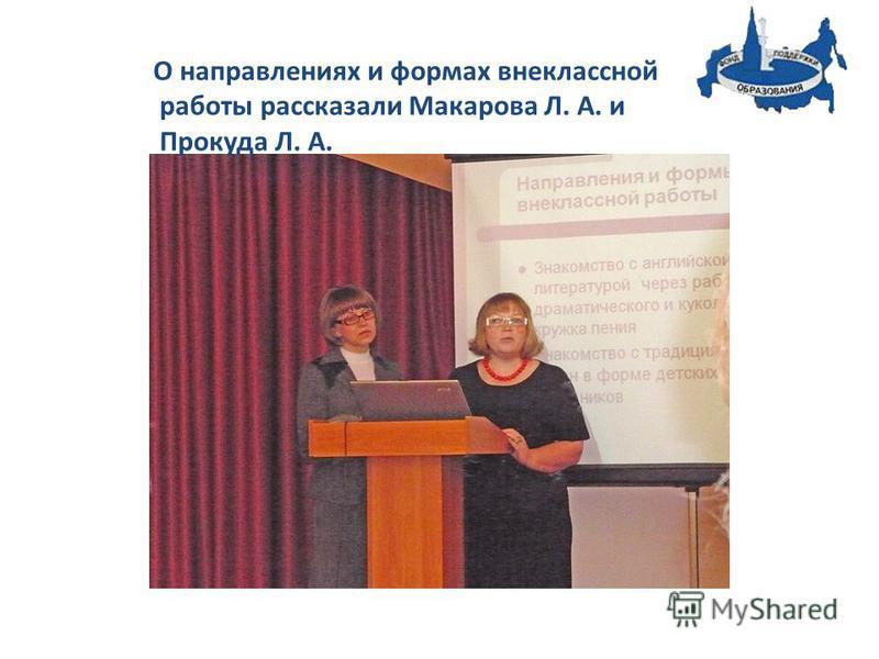 О направлениях и формах внеклассной работы рассказали Макарова Л. А. и Прокуда Л. А.